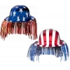 Patriotic Derby Hat with Fringe Asst. (1 count)
